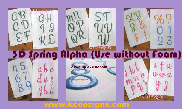 3D Spring Alpha and Numbers Embroidery