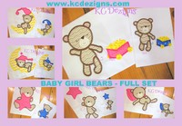 #1066 Baby Girl Bear Full Set Applique