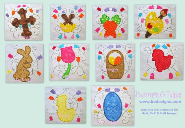 Bunnies & Tulips Full Set Applique