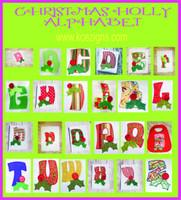 Christmas Holly Alphabet Applique