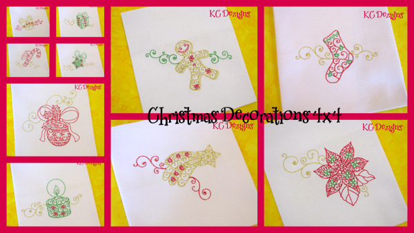 Christmas Decorations Set 4x4 Embroidery