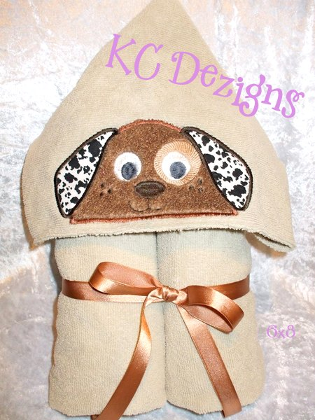 Dog Hooded Towel Machine Applique Embroidery Design Kc Dezigns Dog