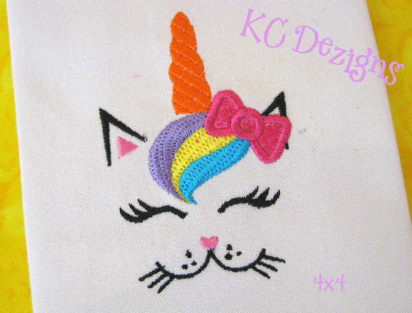 Cat Unicorn Face With Bow 1 Applique