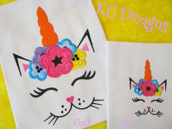 Cat Unicorn Face With Flowers 2 Applique
