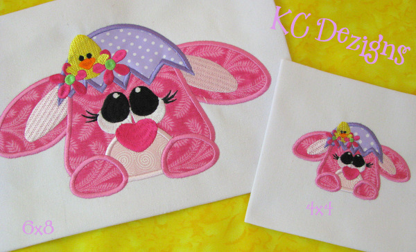 Easter Pink Bunny Critter Applique