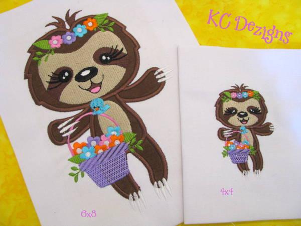 Spring Sloth With Flower Basket