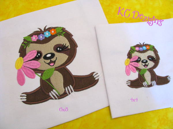 Spring Sloth With Flowers