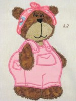 Bear Girl With Dungarees Applique