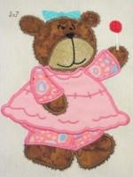 Bear Girl With Sucker Applique