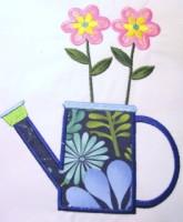 Flower Pot With Flowers Applique