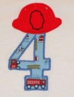 Fireman Helmet Number 4 Applique