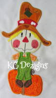 Funny Face Scarecrow With Pumpkin Applique