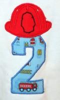 Fireman Helmet Number 2 Applique