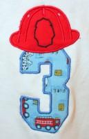 Fireman Helmet Number 3 Applique