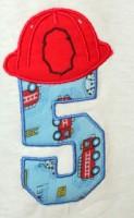Fireman Helmet Number 5 Applique