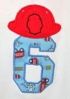 Fireman Helmet Number 6 Applique