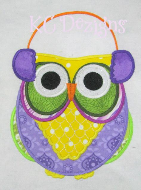 Christmas Owls 01 Applique