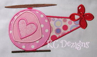 Valentine Helicopter With Hearts Applique
