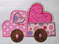 Valentine Truck With Heart Applique