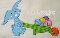 Blue Easter Bunny With Cart Applique