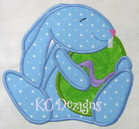Blue Easter Bunny With Egg Applique