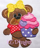Bearly Loved Cupcake With Bow Applique