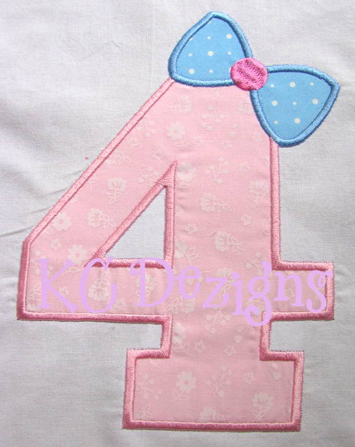 Bow Number 4 Applique