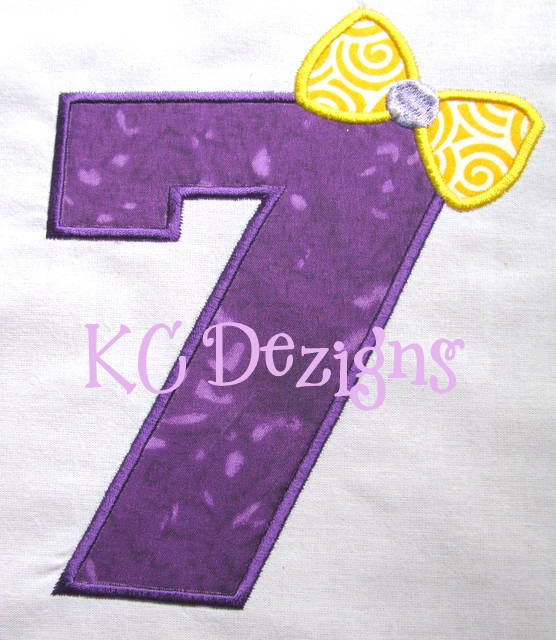 Bow Number 7 Applique
