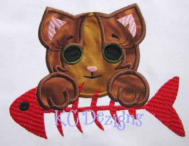Baby Cat With Fish Applique