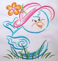 Outline Spring Birdie Machine Embroidery