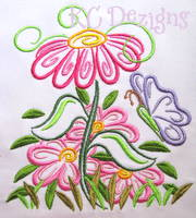 Outline Spring Flowers Machine Embroidery