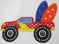 Monster Truck With Surfboards Applique