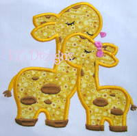 Mommy and Baby Giraffe Applique
