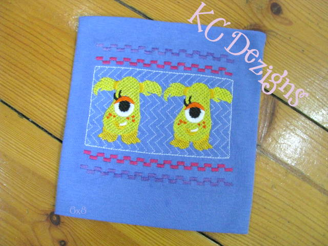 Faux Smocking Girly Monster 1