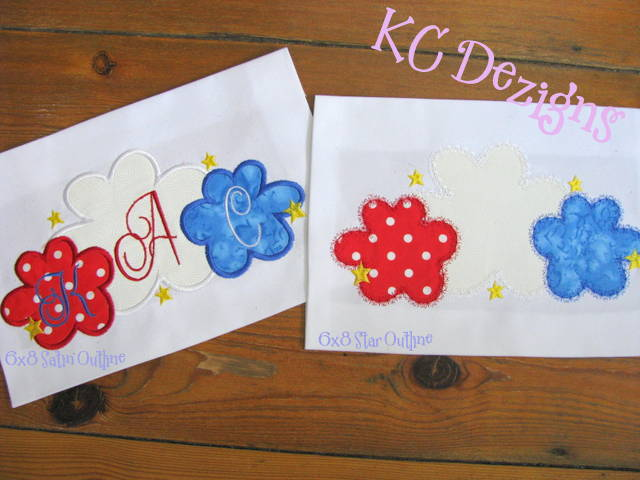 4th July Flowers With Stars Applique
