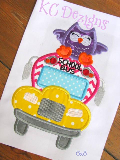 School Bus With Owl Applique