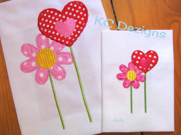 Fairy Flower and Heart Applique