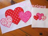 Valentine Linked Hearts Applique