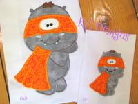 Super Hero Hippo 05 Applique