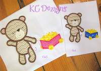 Baby Girl Bear With Cart Of Stars Applique