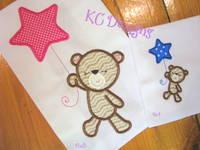 Baby Girl Bear With Star Balloon Applique