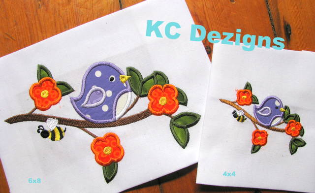 Bird On Branch With Flowers Applique