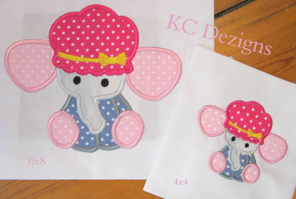 Baby Elephant With Hat Applique