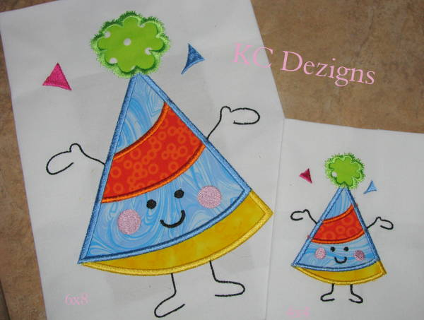 Character Applique Design : Birthday hat character machine applique embroidery design