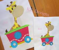 Giraffe Sitting In Train Embroidery