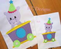 Hippo In Train Embroidery