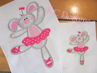#1119 Ballerina Bunny 1 Applique