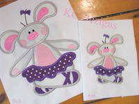 #1121 Ballerina Bunny 3 Applique