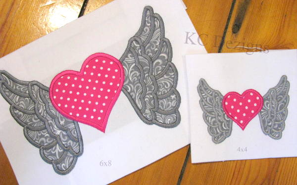 Angel Wings With Heart Applique