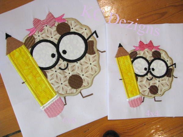 Girl Cookie With Pencil Applique